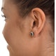 Emerald 6 x 4mm And Diamond 9K Yellow Gold Earrings - image 3