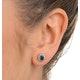 Emerald 6 x 4mm And Diamond 9K Yellow Gold Earrings  B3689 - image 3