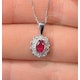 Ruby 6 x 4mm And Diamond 9K White Gold Pendant - image 2