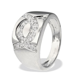 9K White Gold Alternating Diamond Ring (0.22ct)