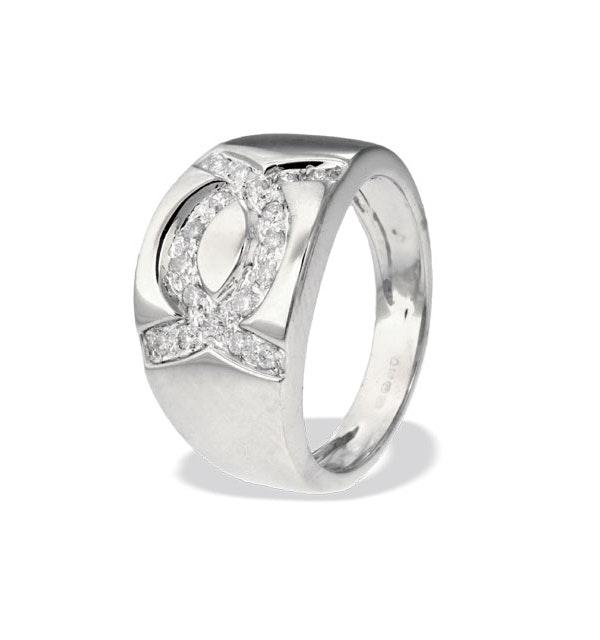 9K White Gold Alternating Diamond Ring (0.22ct) - image 1