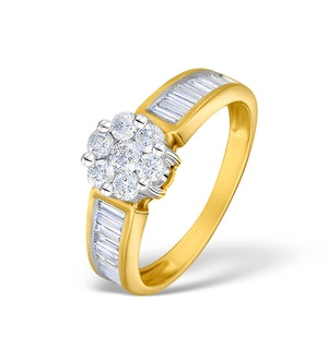 1.00ct Diamond and 9K Gold Cluster Ring - RTC-E4009