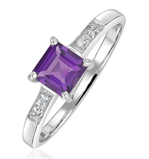 Amethyst 0.63ct And Diamond 9K White Gold Ring