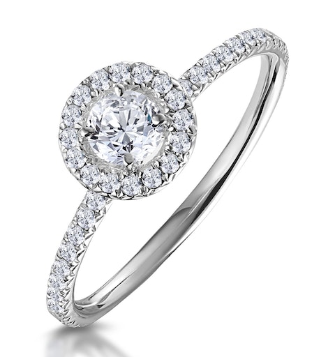 Ella Halo Diamond Engagement Ring 0.50ct set in 9K White Gold - image 1
