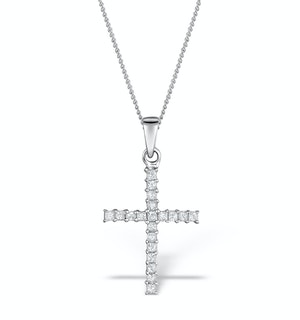 0.25ct Diamond Cross Necklace in 9K White Gold