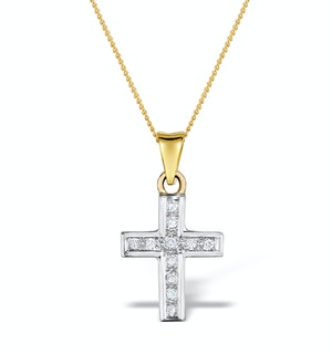 0.25ct Diamond Cross Necklace in 9K Two Tone Gold