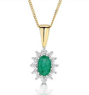 Emerald 6 x 4mm And Diamond 18K Yellow Gold Pendant