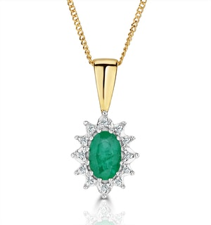 Emerald 6 x 4mm And Diamond 18K Yellow Gold Pendant Necklace