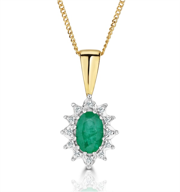 Emerald 6 x 4mm And Diamond 18K Yellow Gold Pendant Necklace - image 1