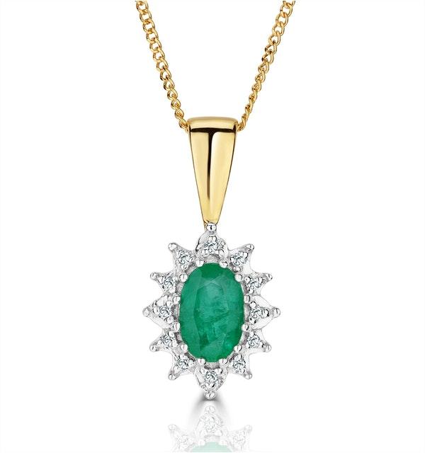 Emerald 6 x 4mm And Diamond 18K Yellow Gold Pendant - image 1