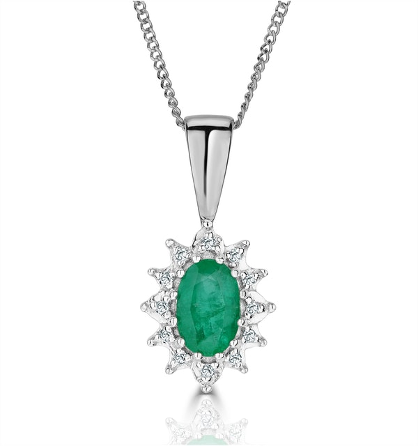 Emerald 6 x 4mm And Diamond 18K White Gold Pendant Necklace - image 1