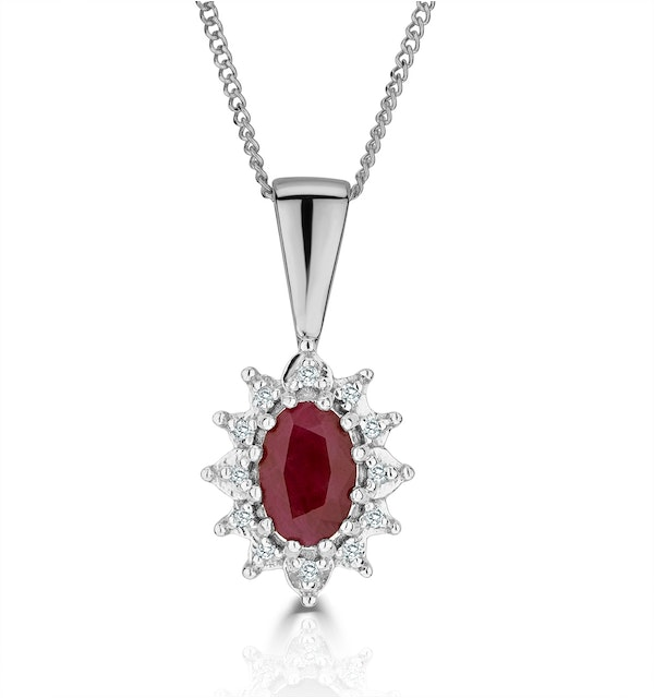 Ruby 6 x 4mm And Diamond 18K White Gold Pendant - image 1
