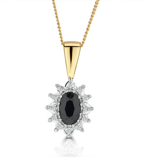 Sapphire 6 x 4mm And Diamond 18K Yellow Gold Pendant