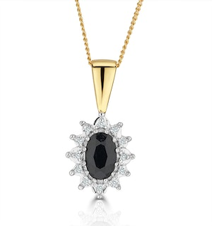 Sapphire 6 x 4mm And Diamond 18K Yellow Gold Pendant Necklace