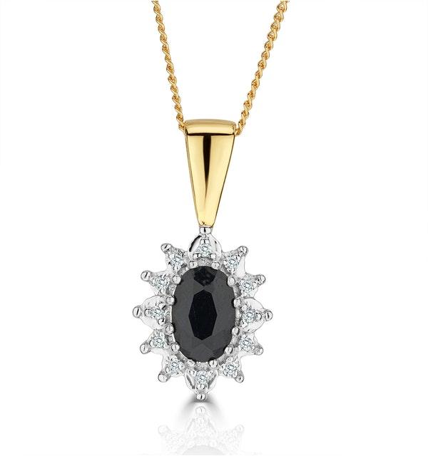 Sapphire 6 x 4mm And Diamond 18K Yellow Gold Pendant - image 1