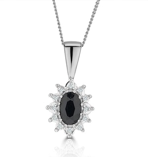 Sapphire 6 x 4mm And Diamond 18K White Gold Pendant Necklace