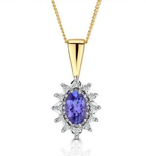 Tanzanite 6 x 4mm And Diamond 18K Yellow Gold Pendant Necklace