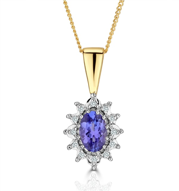 Tanzanite 6 x 4mm And Diamond 18K Yellow Gold Pendant Necklace - image 1
