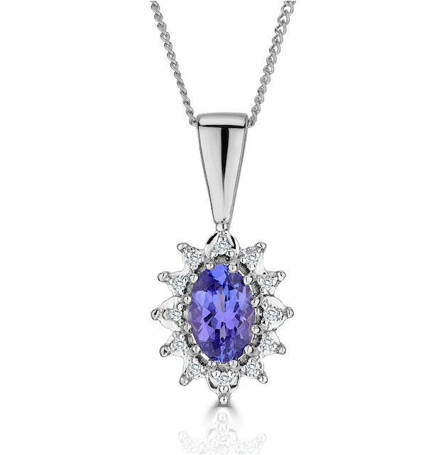 Tanzanite 6 x 4mm And Diamond 18K White Gold Pendant - image 1