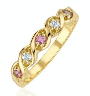 18K Gold Diamond and Pink Sapphire Ring 0.08ct