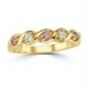 18K Gold Diamond and Pink Sapphire Ring 0.08ct - image 2