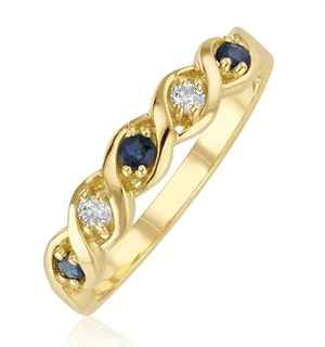 Sapphire 2.25 x 2.25mm And Diamond 18K Gold Ring