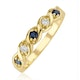 Sapphire 2.25 x 2.25mm And Diamond 18K Gold Ring - image 1