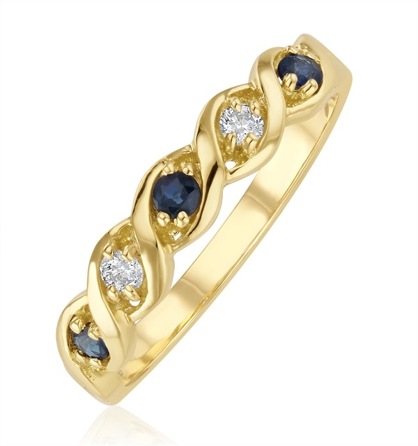 Sapphire 2.25 x 2.25mm And Diamond 9K Gold Ring - image 1