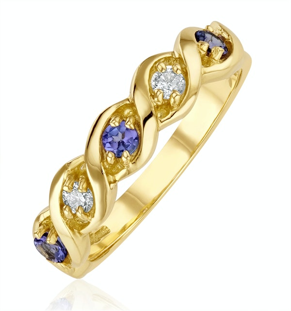 Tanzanite 2.25 x 2.25mm And Diamond 18K Gold Ring  FET30-V - image 1