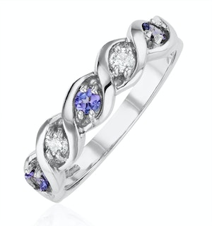 Tanzanite 2.25 x 2.25mm And Diamond 18K White Gold Ring