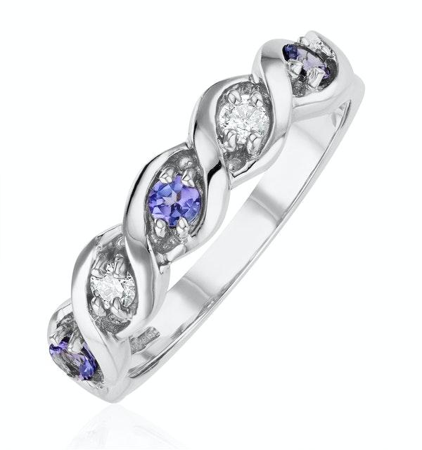 Tanzanite 2.25 x 2.25mm And Diamond 18K White Gold Ring - image 1