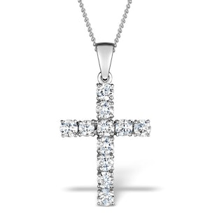 1.00ct Diamond and 18K White Gold Cross Pendant - FR42