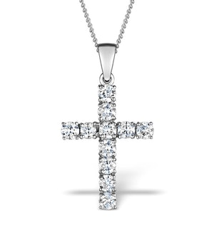 1.00ct Diamond and 18K White Gold Cross Pendant Necklace - FR42