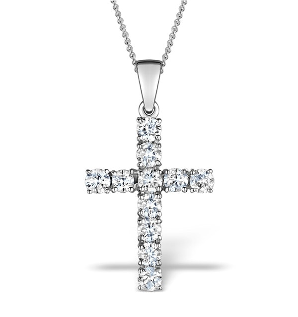 1.00ct Diamond and 18K White Gold Cross Pendant Necklace - FR42 - image 1