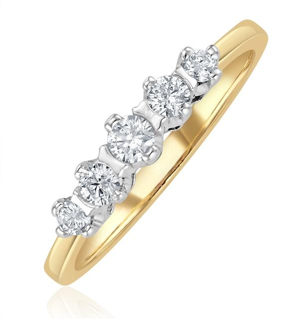 Grace 18K Gold 5 Stone Diamond Eternity Ring 0.33CT - image 1