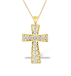 Diamond 0.25ct and 9K Gold Cross Pendant - RTC-G3199