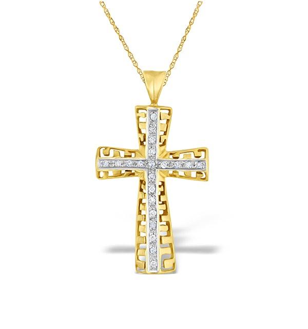 Diamond 0.25ct and 9K Gold Cross Pendant - RTC-G3199 - image 1