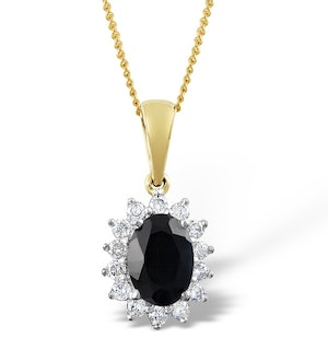 Sapphire 7 x 5mm And Diamond 9K Gold Pendant Necklace