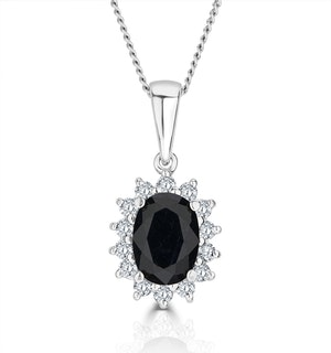 Sapphire 7 x 5mm And Diamond 9K White Gold Pendant Necklace