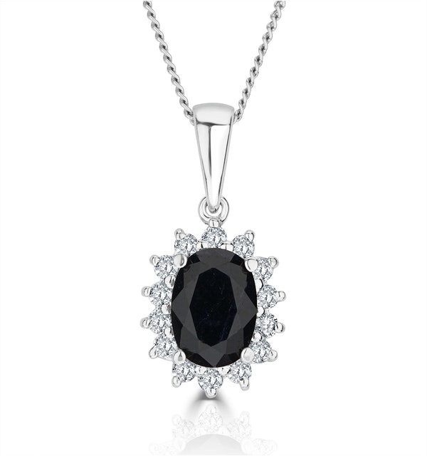 Sapphire 7 x 5mm And Diamond 9K White Gold Pendant Necklace - image 1