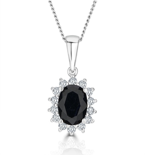 Sapphire 7 x 5mm And Diamond 9K White Gold Pendant - image 1