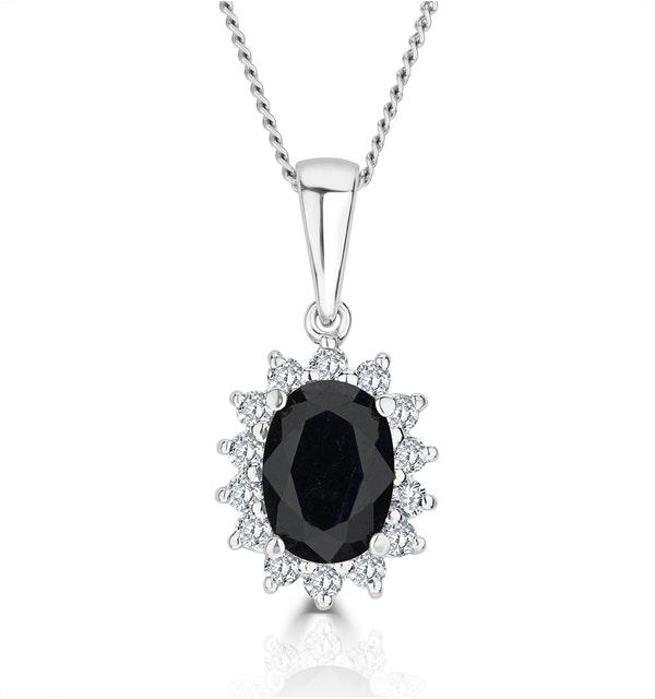 Sapphire 7 x 5mm And Diamond 9K White Gold Pendant - image 1