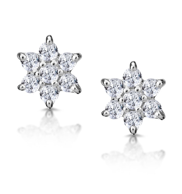 Diamond Cluster Earrings 0.30ct White Gold - image 1