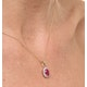 Ruby 7 x 5mm And Diamond 18K Yellow Gold Pendant - image 4