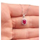 Ruby 7 x 5mm And Diamond 18K White Gold Pendant FER27-TY - image 3