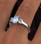 Aquamarine 0.70ct and Diamond 0.50ct Platinum Ring - image 4