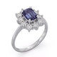 Tanzanite 7 x 5mm And 0.50ct Diamond 18K White Gold Ring - image 2