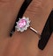 18K White Gold 0.50ct Diamond and 1.05ct Pink Sapphire Ring - image 4
