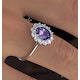 Tanzanite 8 x 6mm And 0.50ct Diamond 18K White Gold Ring - image 4