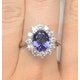 Tanzanite 9 x 7mm And 1.00ct Diamond 18K White Gold Ring - image 3